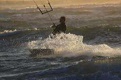 Kiteboarding at Dillon Beach - 5 (fksr) Tags: kiteboarding kitesurfing dillonbeach tomalesbay marincounty california waves sport action sunset spray wake