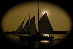 Sepia sail (sadrollieman) Tags: sepia evening afternoon kewwest florida sail boat water warm silhouette sunset mast calm bay d70s nikon nikkor digital photo photography tone toning vignette frame dark cruise romantic vacation usa travel island south