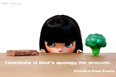 #chocolate (Little Dreams ) Tags: chocolate god broccoli eat vegetables food doll blythe quote fun