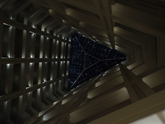 hotel lobby (Praxis Transmutation) Tags: hawaii hotel lobby oahu architecture view perspective up lights roof floors building buildings glass night groundfloor quiet