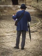 The Japanese Hercule Poirot-look-a-like in Paris (RCARCARCA) Tags: map iphone japanese paris 6 umbrella tourist 2016 mrpoirot hat