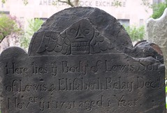 Lewis Relay, d. 1751 (pburka) Tags: 1751 lewis elisabeth relay stone grave marker cemetery graveyard church trinity manhattan nyc fidi amex skull wings death angel carved script