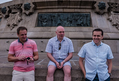 At the Columbus Monument (Barcelona) (Panasonic Lumix DMC-LX100 Compact) (1 of 1) (markdbaynham) Tags: group people barcelona panasonic dmclx100 lx100 compact 2475mm f1728