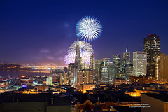 Dazzle Me San Francisco (Darvin Atkeson) Tags: sanfrancisco california eve usa art skyline night america happy bay us cityscape suspension fireworks celebration event goldengate midnight baybridge newyears transamerica citybythebay darvin 2013 atkeson darv liquidmoonlightcom lynneal