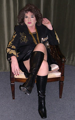 Me, short satin mini skirt, pvc boots. (Sugarbarre2) Tags: city party people urban woman usa baby black hot green girl beautiful leather fashion self dark mom fun photo big high cool eyes nikon long photographer boots babe mature upskirt granny