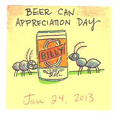 Beer Can Appreciation Day (pageofbats) Tags: beer illustration ant january postitnote 2013 kiplingwest postitnoteaday