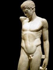 Closeup of Sculpture of a victorious athlete 1st century CE Roman period after lost 430 BCE original by Polykleitos (2) (mharrsch) Tags: sculpture male sports statue youth oregon nude portland greek roman victory athlete britishmuseum portlandartmuseum 1stcenturyce 5thcenturybce polykleitos bodybeautiful mharrsch