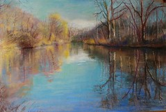 Early Winter Reflection   Prospect Park, Brooklyn (arthipolito) Tags: blue trees sky sun lake reflection water brooklyn pond paint december peace drawing pastel sunny skyreflection reverie windsorterrace nakedtrees treereflections