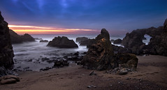 Primordial Sea (mikeSF_) Tags: ocean california bridge sunset panorama seascape beach mike night dark point landscape photography evening duck rocks long exposure arch slow angle pacific pentax pano wide sigma trail shutter dillon pt 1020 reyes k5 kehoe tomales mcclures oria