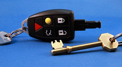 New Car Key technology beside old brass key (BOB008) Tags: car keys three volvo electronic brass lever fob mortice