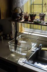 Drying Rack (mattpete) Tags: light stilllife kitchen danger sink takumar ominous 28mm knife shell rack jar household smc colander drying chefs f35