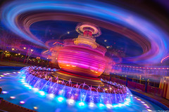 Dumbo's Lightspeed Journey Through Time and Space (TheTimeTheSpace) Tags: longexposure fountain night nikon circus dumbo disney disneyworld waltdisneyworld hdr magickingdom d800 lightspeed flyingelephant matthewcooper photomatix storybookcircus thetimethespace