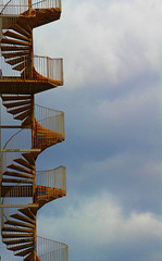 IMG_4084 STAIRS TO PARADISE OR HELL (FMR2010) Tags: sky paris metal stairs jaune bleu ciel escalier lue blinkagain