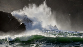 Waves crashing on to the rocks on Clogher beach