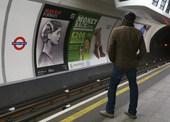 Oxford Circus (stevedexteruk) Tags: man money london portraits underground advertising poster photography ray circus transport tube platform rail line billboard oxford advert ugg steet bakerloo cashback