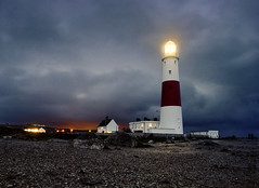 Portland Bill Lighthouse (Beardy Vulcan) Tags: winter light england lighthouse storm night portland twilight nocturnal january explore dorset trinityhouse lightpollution portlandbill 2013