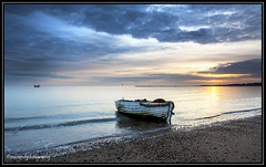 End of time (Simon Rich Photography) Tags: uk sunset sea sun water clouds canon reflections coast boat still fishing sand alone sailing angle wide calm east vacant essex clacton isolated anglia martello moored eos5d simonrich mrmonts simonrichphotography