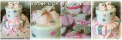 pink and gray baby shower cake and cookies (Custom Cakes By Tracee) Tags: pink 2 baby cookies cake shower strawberry shoes chocolate stripes gray royal sugar icing vanilla marble 69 dots bows booties filling tier fondant gumpaste flickrandroidapp:filter=none