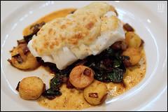 Neah Bay Cod - Eva (WordOfMouth) Tags: restaurant potatoes eva greens chorizo cod rarebit manchego tangletown