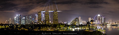 MBS Laser Show Panorama. (Ollie Smalley Photography (OSP)) Tags: city travel blue panorama travelling yellow skyline clouds contrast reflections lights singapore cityscape panoramic lasers getty reflective 5d fullframe noise lasershow iconic stitched gettyimages osp lseries travelphotography llens cloudage iso1000 canon24105mm lr4 gardensbythebay singaporeflyer marinabaysands supertrees 5d2 5dii canon5dmarkii adobephotoshopcs5 olliesmalleyphotography