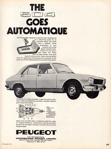Peugeot 504 Automatic Advert 1970 A Photo On Flickriver
