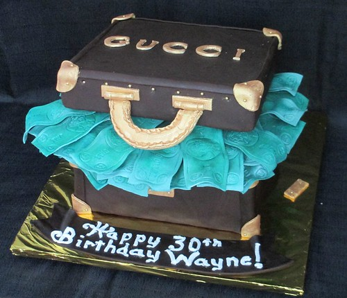 Suitcase Full Of Money Gucci Theme Fondant Cake Main