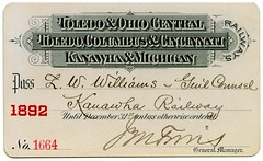 Toledo and Ohio Central Railway Pass, 1892 (Alan Mays) Tags: old travel columbus ohio red mi vintage paper tickets typography antique michigan cincinnati transport trains ephemera wv toledo westvirginia transportation type mich oh fonts railways printed december31 toc passes railroads typefaces 1890s 1892 kanawha fillintheblanks railroadiana toledoohiocentral toledoandohiocentral railroadpasses kanawhaandmichigan kanawhamichigan toledoandohiocentralrailway toledocolumbuscincinnati toledocolumbusandcincinnati kanawhaandmichiganrailway kanawharailway