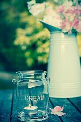 Dream... (barbara.jackson55) Tags: flowers garden word candle dream jar jug vase candleholder tealightholder