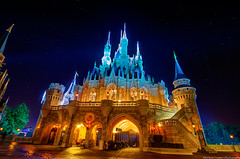 Cinderella's Castle and the Stars (TheTimeTheSpace) Tags: orange castle night stars nikon glow disney disneyworld waltdisneyworld hdr magickingdom cinderellascastle matthewcooper dreamlights d7000 thetimethespace