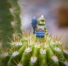 Cyclops finds himself in a pinch (jessicagreen0202) Tags: cactus desert lego scene cyclops minifig spikes diorama minifigure