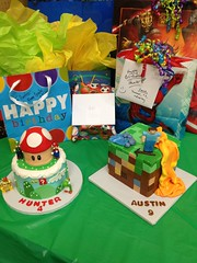 "dual birthday cake mario and minecraft • <a style=""font-size:0.8em;"" href=""http://www.flickr.com/photos/60584691@N02/8547835704/"" target=""_blank"">View on Flickr</a>"