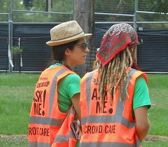 Cool Crowd Care (mikecogh) Tags: hat dreadlocks volunteers straw vests bandana luminous womad womadelaide 2013