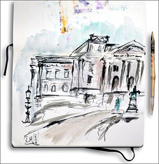 Rathaus Altona - Hamburg (rafaelmucha) Tags: city moleskine ink notebook sketch hamburg sketchbook stadt rathaus altona tusche bambusfeder