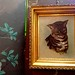 Cat Painting, Gold Wood Frame & Floral Wallpaper