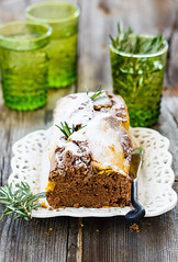 Pumpkin cake (Julicious) Tags: food green glass cake breakfast canon pumpkin baking yummy sweet rustic knife plate homemade rosemary pastry foodphoto cacao foodphotography foodstyle flickraward canon5dmarkiii