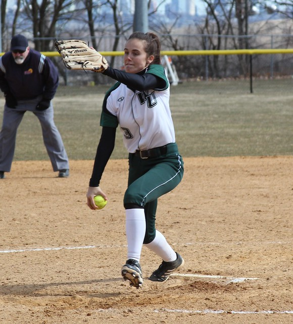 Sophomore Chelsea Botsch struck out four while only allowing two unearned runs in the game two loss at Felician. Copyright 2013; Wilmington University. Photo credit: Nicole Wiechecki. All rights reserved.