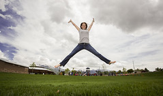 Nothing but green grass (Flickr_Rick) Tags: autumn woman girl outside jump jumping jamie jumpology