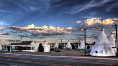 Historic Wigwam Motel on Route 66 in Holbrook, Arizona in HDR (eoscatchlight) Tags: clouds route66 roadsideamerica hdr yesteryear teepees mainstreetusa wigwammotel photomatix themotherroad fadingamerica ofdaysgoneby