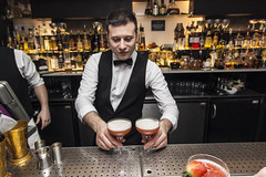 Sloe Gin Cocktails (rubber_lover) Tags: food london garden restaurant chelsea drink circus cocktail eat covent alcohol gin performer act waiter barman dakari sloe