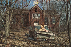 (yyellowbird) Tags: school house selfportrait abandoned girl car illinois rust rusty pickuptruck international forgotten cari ih internationalpickuptruck