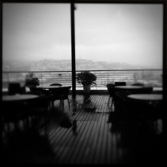 under bad weather (Josef-K) Tags: bw coimbra iphone hipstamatic hipstagram