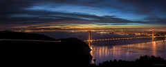 Another Blue Hour Special (rootswalker) Tags: sanfrancisco city longexposure reflection clouds 35mm dawn availablelight panoramic goldengatebridge citylights sanfranciscobay bluehour marinheadlands carlzeiss zf hawkhill distagont235