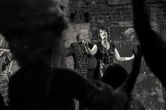 Keep right on (elizunseelie) Tags: britannia panopticon musichall theatre stage event live variety burlesque vaudeville show people portrait costumes glamour historic brickwall pentax k5 dark tamron low light moisture festival black white monochrome singer song belt cheering crowd audience silhouette