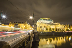 20160722_F0001: The National Theatre and the Toalety (wfxue) Tags: czech prague city town oldtown architecture old building structure tourism tourists windows historical history mostlegi sky night light trails traffic street cars vltave river water reflection toilets sign clouds cloudy longexposure