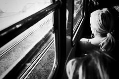 (jeanpichot) Tags: sunlight commuting commute window tracks sitting people contrast black bright light dark shadow outside woman person looking gothenburg tram