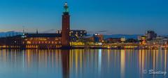 Stockholm City Hall at Night (stevebfotos) Tags: hdr bluehour river riddarfjrden stockholm gamlastan longexposure night stockholmcityhall