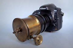 Unnamed, brass-bound 5-inch projection lens in dual control brass focussing mount (heritagefutures) Tags: unnamed brassbound 5inch projection lens petzval design nikon d800 cindo paris dual control brass focussing mount 7267mm step down 6772mm up 6267mm 6762mm 7267 stepdown 5267mm m52 m42 3690mm helicoid m39 ring f adapter antique camera simulator project