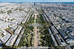 Champ de Mars and Montparnasse Tower from the top of the Eiffel Tower. (Roland Rosier) Tags: champdemars d800 eiffeltower france montparnassetower nikon nikond800 paris toureiffel tourmontparnasse tower view iledefrance fr