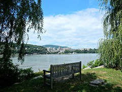 View of West Point from Garrison, NY (dianecordell) Tags: garrisonny hudsonriver westpoint militaryacademy bench trees summer august