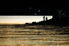 Mates...just being (Deborah Kelland) Tags: fuji xt2 fujixt2 low light lowlight fishing seagulls birds circling ripples sea seaside